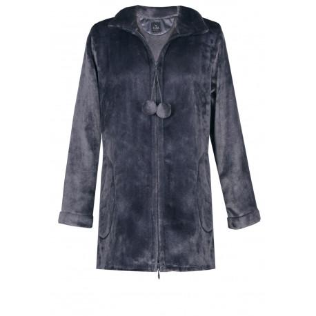 Veste homewear zippée en fourrure ESSENTIEL 574 vison