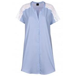 Chemise de nuit boutonnée 100% coton BLEUET 605