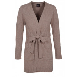100% CASHMERE LONG CARDIGAN Dark natural
