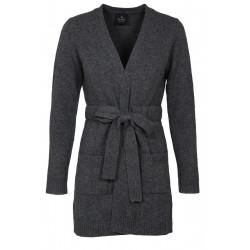 CARDIGAN LONG 100% CACHEMIRE anthracite