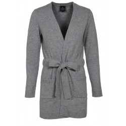 CARDIGAN LONG 100% CACHEMIRE gris chiné