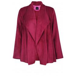 Veste homewear drapée en fourrure ESSENTIEL 173 groseille