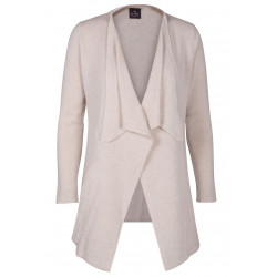 Cardigan drapé 100% CACHEMIRE beige chiné