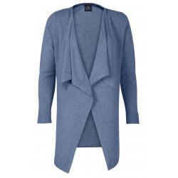Cardigan drapé 100% CACHEMIRE bleu chiné