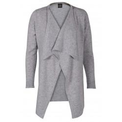 Cardigan drapé 100% CACHEMIRE gris chiné