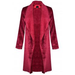 Veste homewear longue en fourrure ESSENTIEL 366 griotte