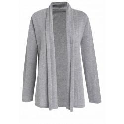 Cardigan ouvert 100% CACHEMIRE gris chiné