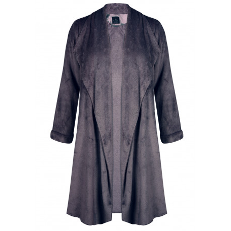 Veste homewear longue en fourrure ESSENTIEL 366 fumé