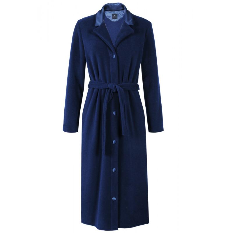 Robe De Chambre Boutonnée En Polaire Essentiel 553 Bleu Nuit